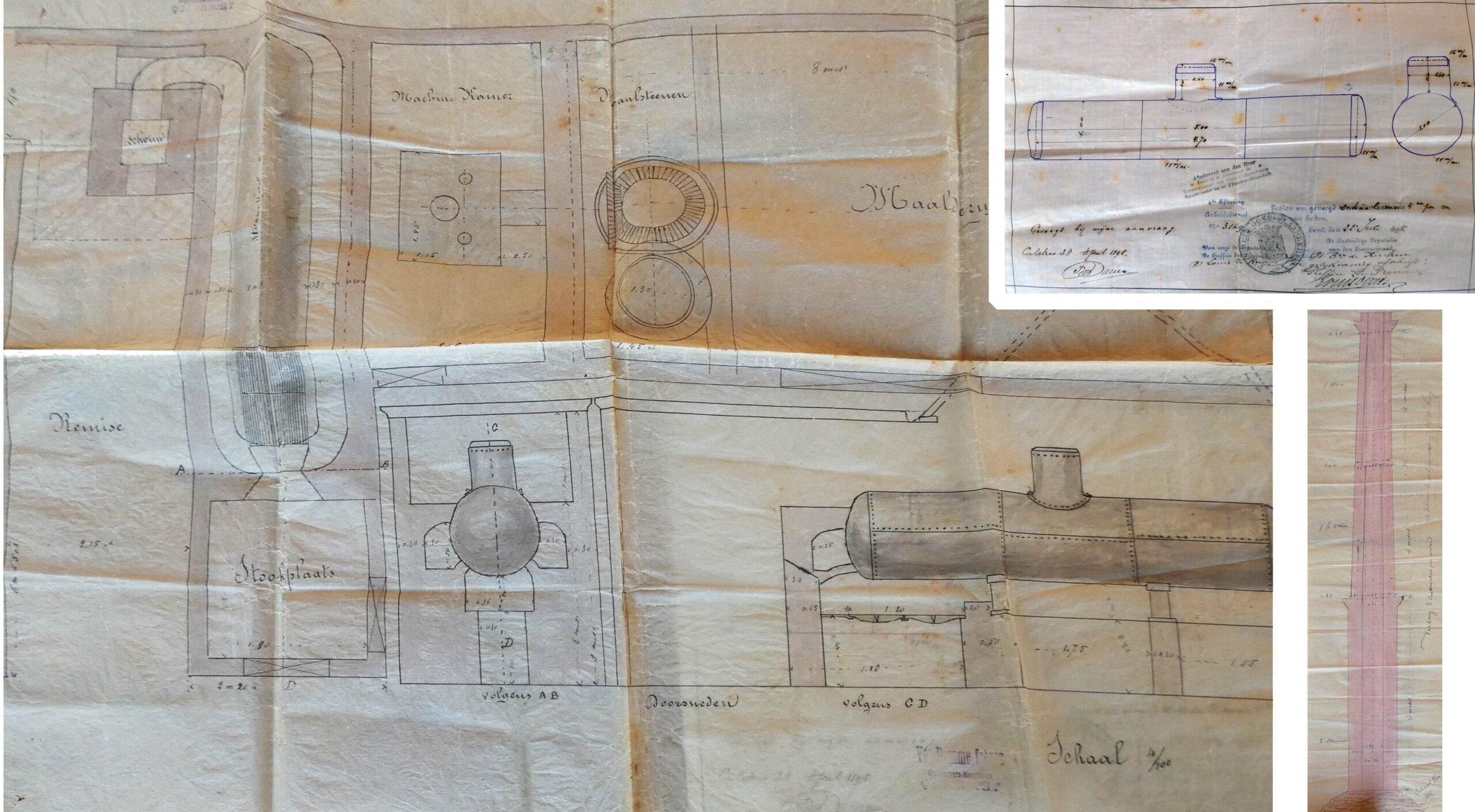 Oude tekeningen en registratiedocument uit 1898 van de stoommotor in de maalderij en van de hoge schoorsteen waarvan nu enkel de onderste laag stenen rest.