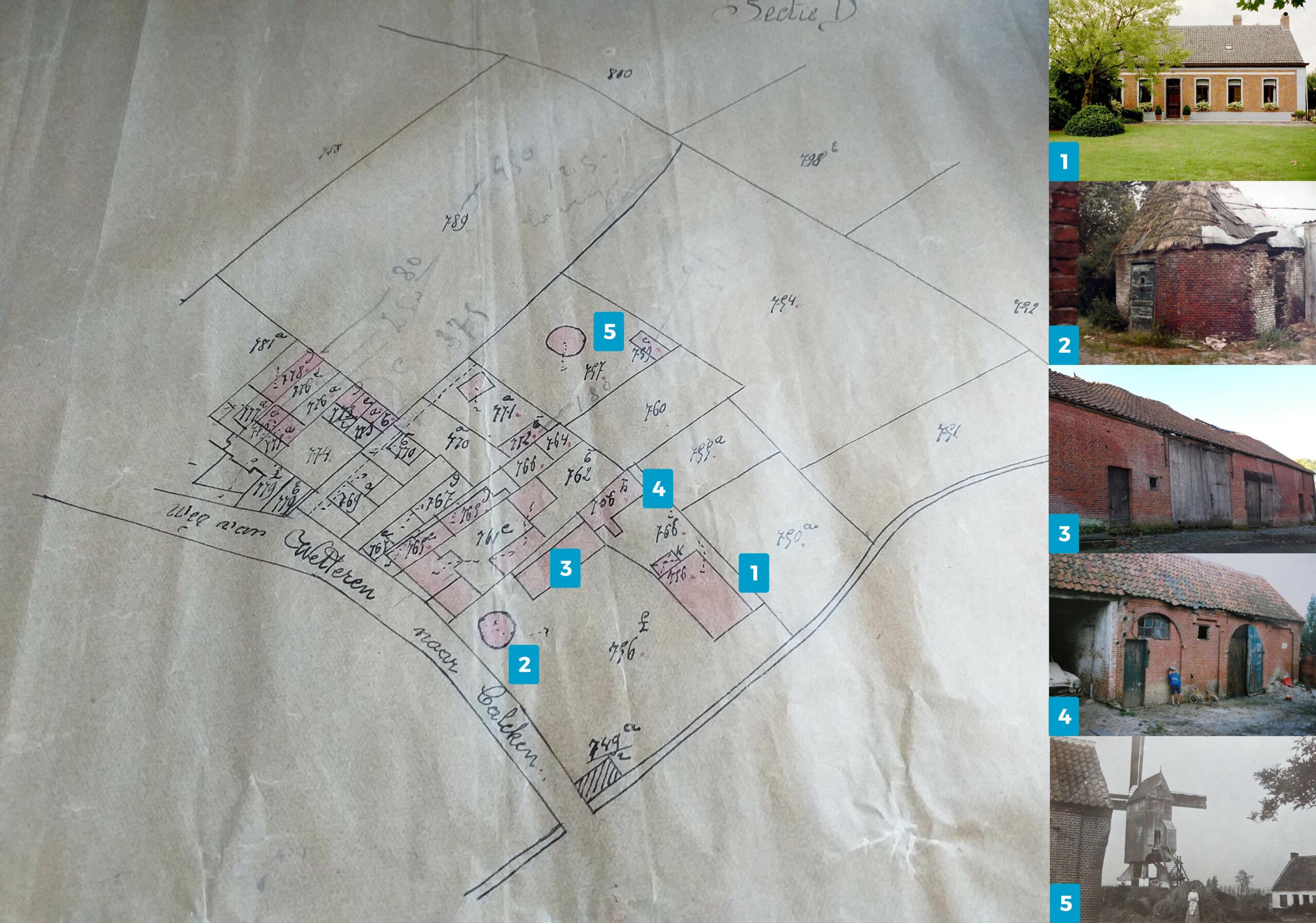 Vaartstraat Kalken Kadastraal plan 1923